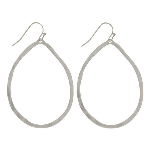 Silver Hammered Texture Teardrop Earrings - Sassy & Southern