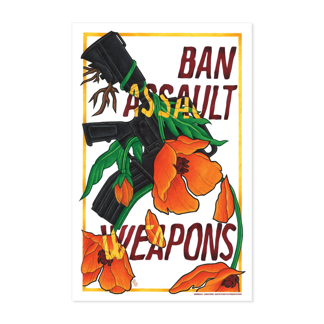BAN ASSAULT WEAPONS FINE ART PRINT