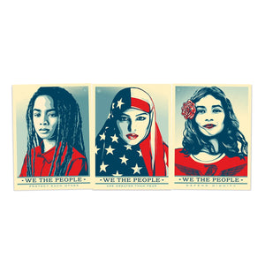 Shepard Fairey We The People Greater Defend Protect 24 x36 Offset Art Print SET*