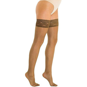 Solidea Marilyn 70 Sheer Support Compression Thigh Highs - 12/15 mmHg, Camel