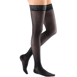 Mediven Sheer & Soft Women's 8-15 mmHg Thigh High, Ebony