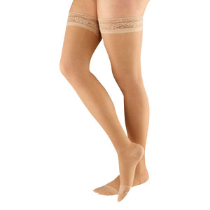Actifi Women's 15-20 mmHg Sheer Thigh High Stockings, Light Nude