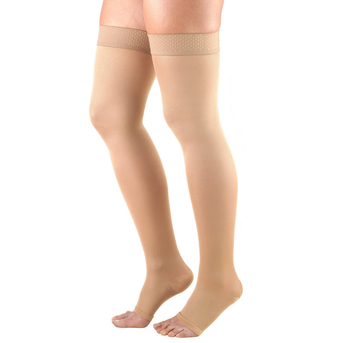 Truform Opaque Women's 20-30 mmHg OPEN-TOE Thigh High