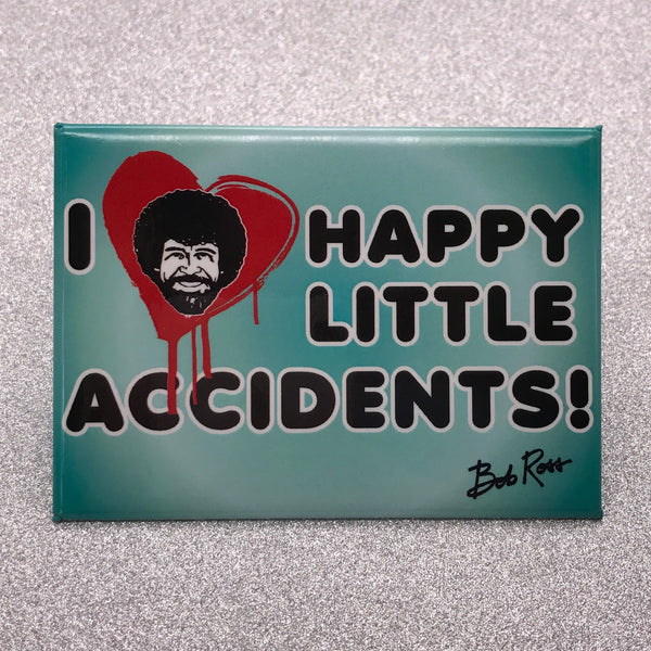 Bob Ross 'I Love Happy Little Accidents' Fridge Magnet