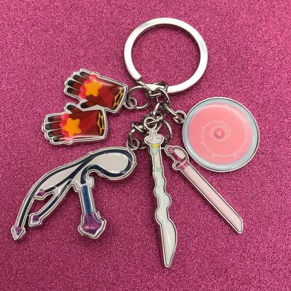 Steven Universe Crystal Gems Weapons Charm Keychain