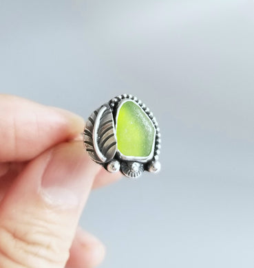 Sterling Silver Sea Glass Ring Size 7.5