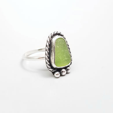 Natural Sea Glass Ring Sterling Silver Size 6.75