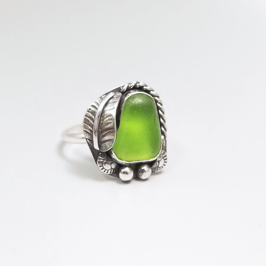 Lime Green Sea Glass Ring Sterling Silver Size 8