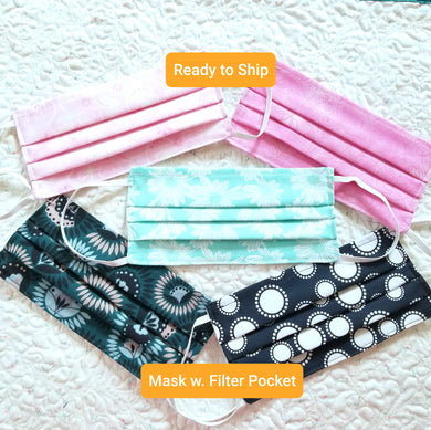 Ready to Ship - Adult Washable Cotton Fabric Face Mask with Filter Pocket