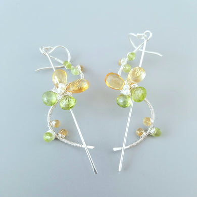 Wire Wrapped Gemstone Flower Earrings-Birthstone Earrings-Spring Earrings-Sterling Silver Butterfly Earrings-Citrine Peridot Flower Earrings