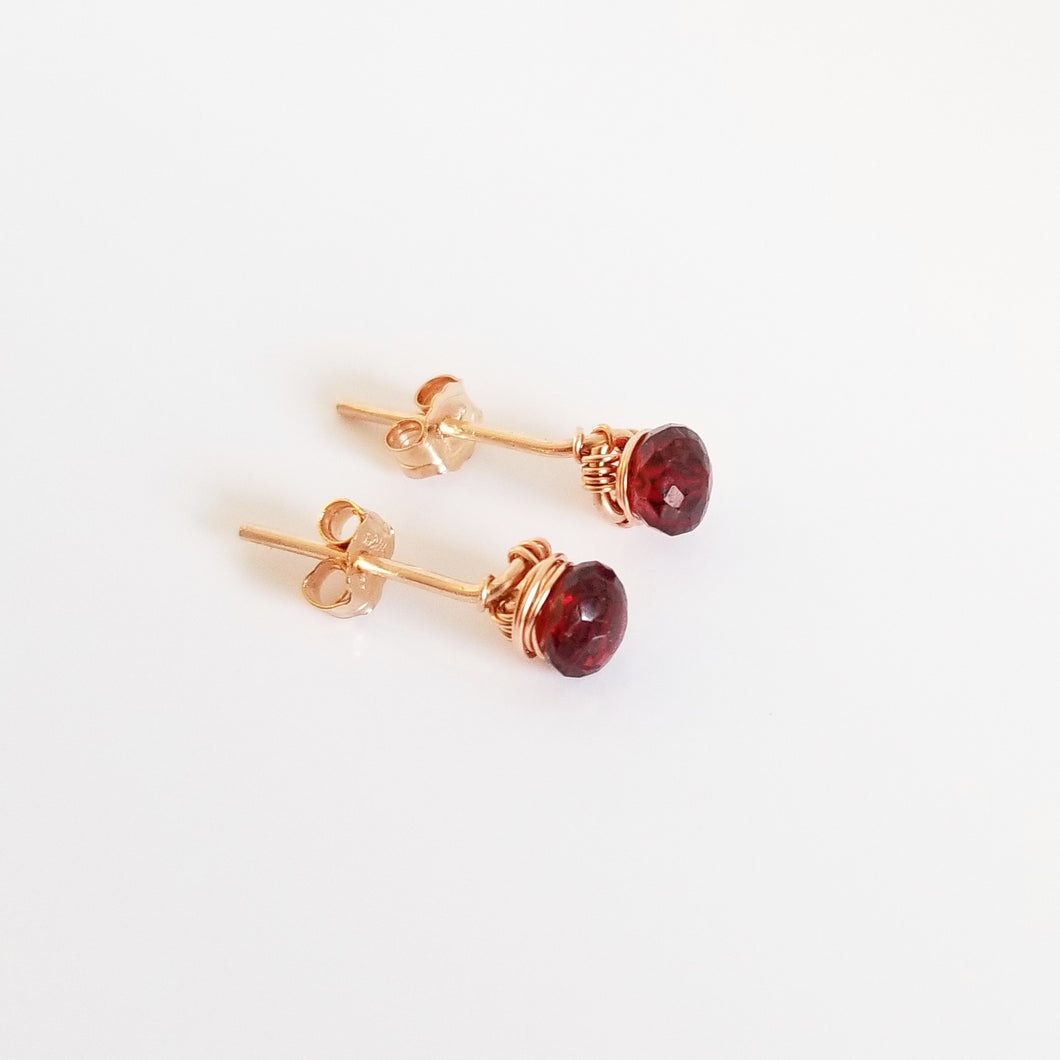 Wire Wrapped Red Garnet Stud Earrings-14K Gold-Rose Gold Filled