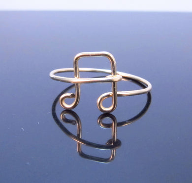 Gold Dainty Music Note Ring-Sterling Silver-Rose Gold