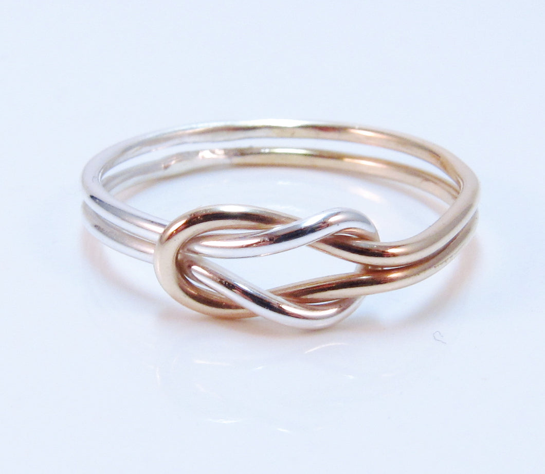 Two Tone Double Love Knot Ring Sterling Silver 14k Gold Filled Purple Poem Craft