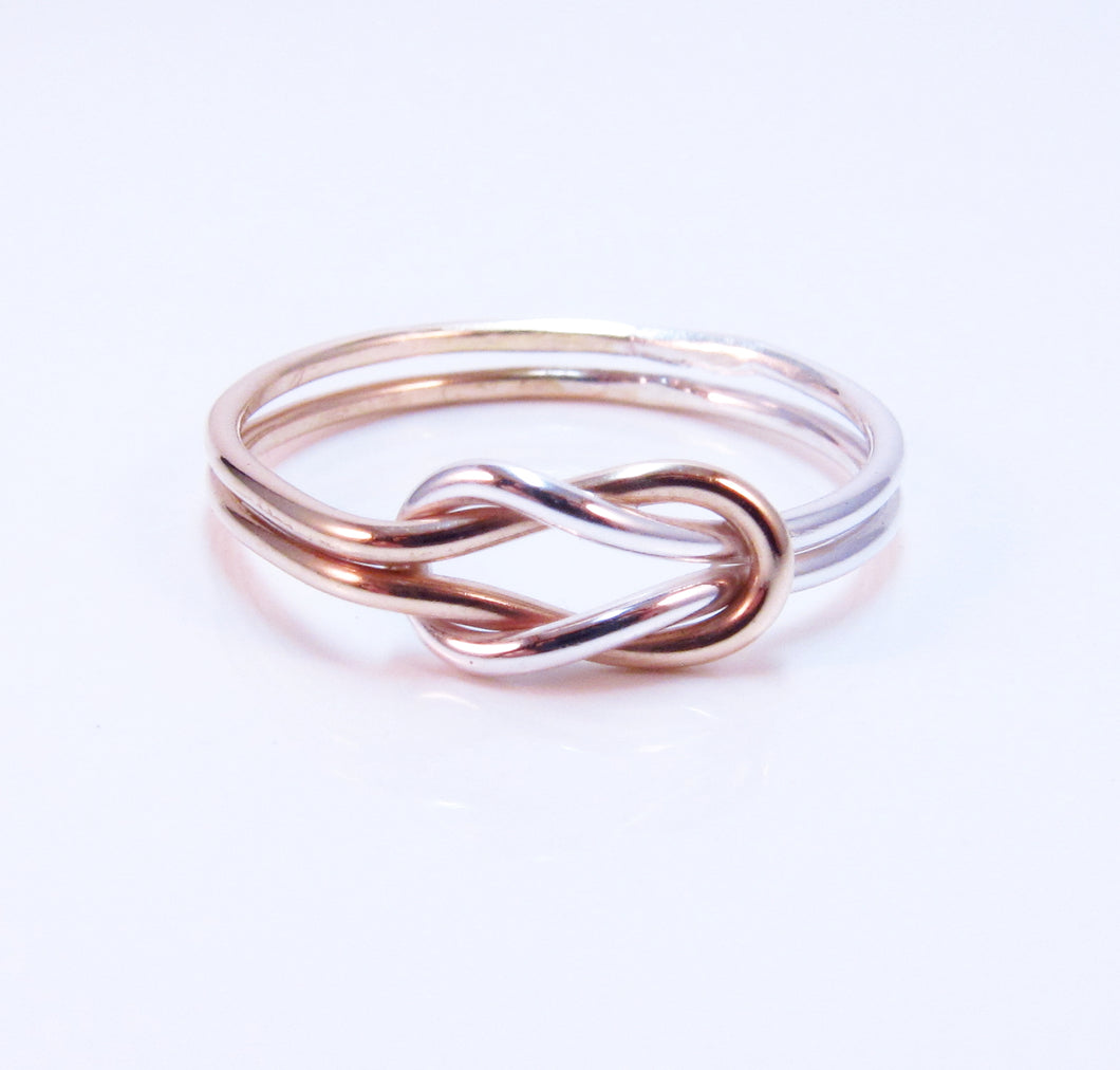 Two Tone Double Love Knot Ring Sterling Silver 14k Rose Gold Filled Purple Poem Craft