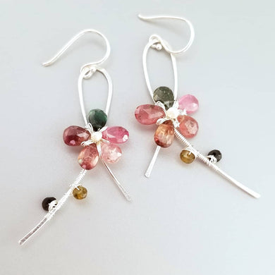 Wire Wrapped Tourmaline Flower Earrings-Sterling Silver