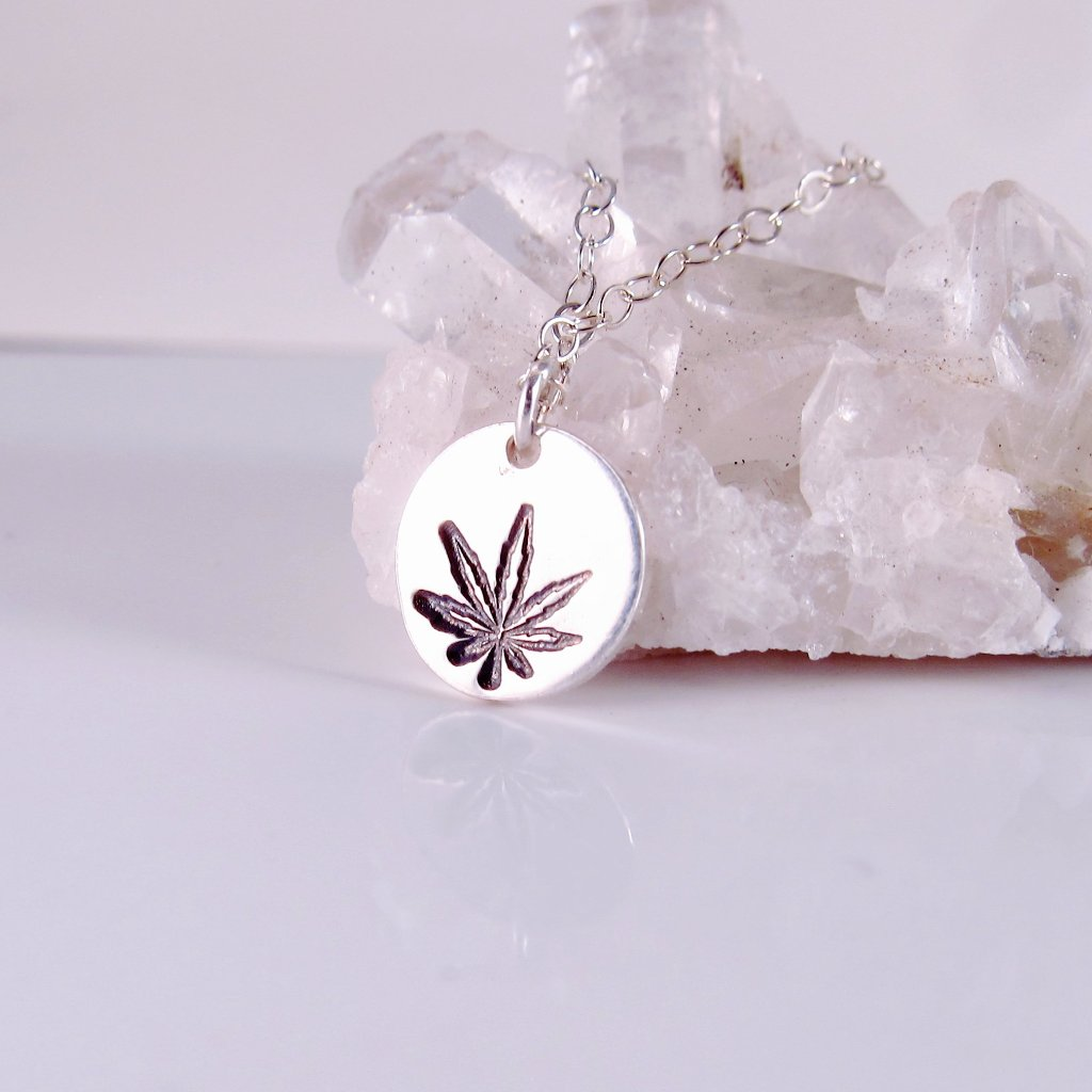 Marijuana Leaf Necklace-Sterling Silver