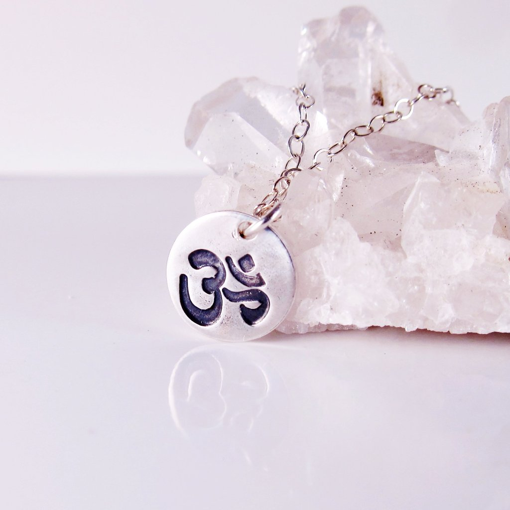 Yoga OM Sign Necklace -Sterling Silver