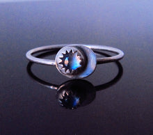 Sterling Silver Crescent Moon Moonstone Ring