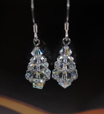Swarovski Crystal Christmas Tree Earrings-Sterling Silver