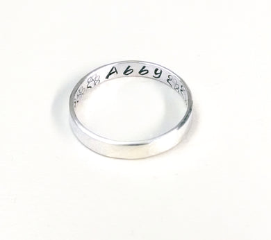 Personalized Sterling Silver Paw Print Ring