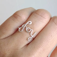 Wire Dainty Joy Word Ring-Sterling Silver