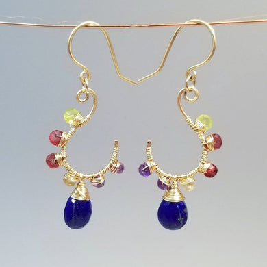 Gold Lapiz Lazuli Earrings-Wire Wrapped Multi Gemstone Earrings