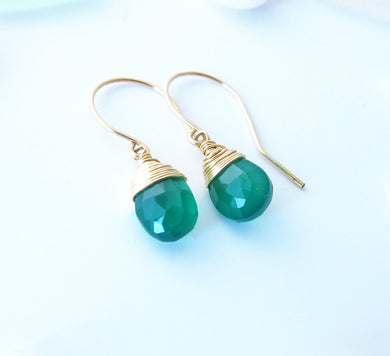 Wire Wrapped Emerald Green Onyx Earrings-Sterling Silver-14K Gold-Rose Gold Filled