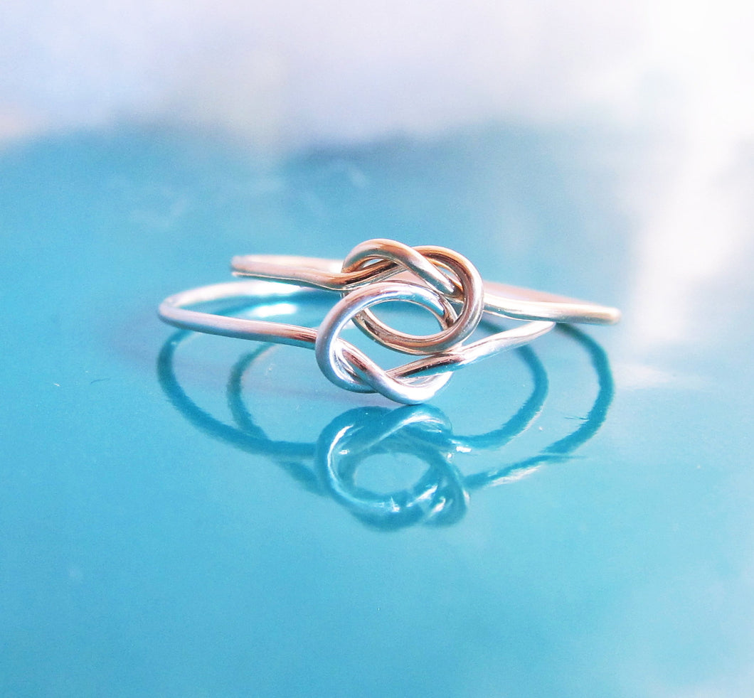 Two Tone Double Love Knot Ring-Sterling Silver-14K Gold Filled