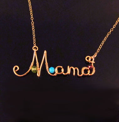 Wire Name Necklace with Birthstones-14k Gold Filled