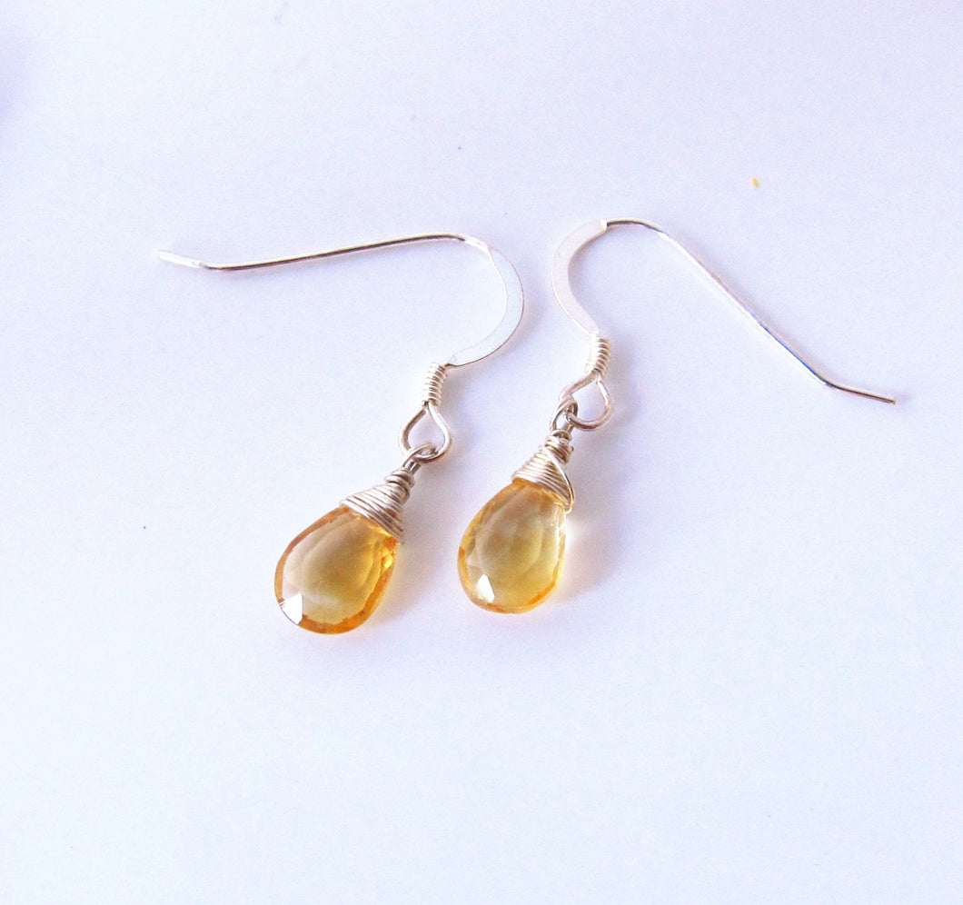 Wire Wrapped Yellow Citrine Dangle Earrings-Sterling Silver