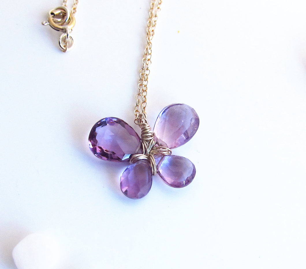 Purple Amethyst Butterfly Necklace-Sterling Silver