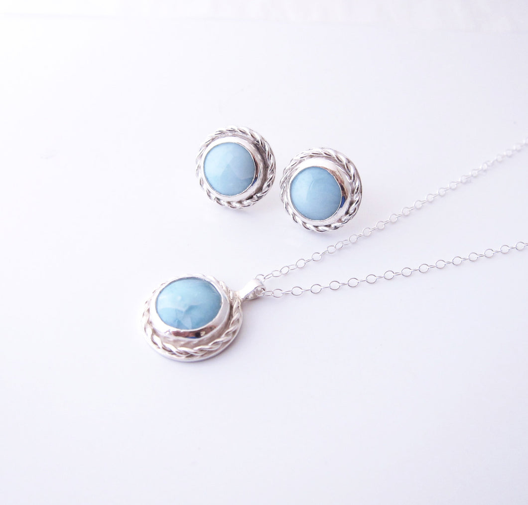 Larimar Earrings Necklace Set-Sterling Silver