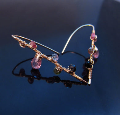 Wire Wrapped Tourmaline Earrings-14K Gold Filled