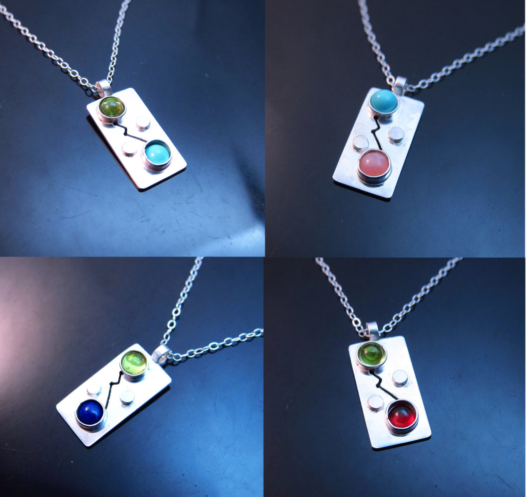 Two Birthstone Necklace-Sterling Silver