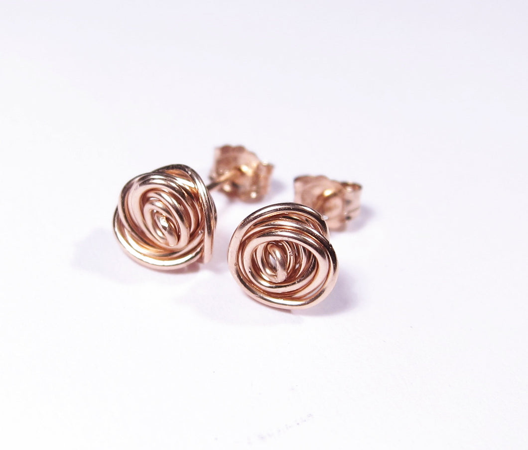 Wire Rose Flower Earrings-14K Gold-Rose Gold Filled
