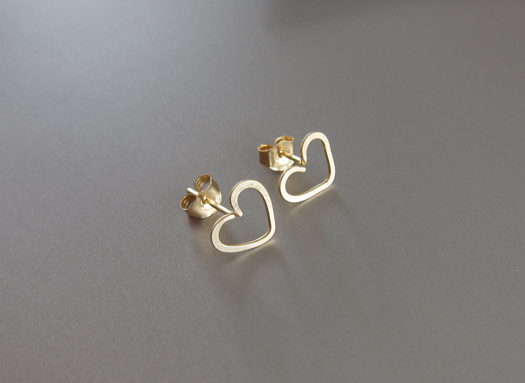 Dainty Heart Earrings-14k Gold-Rose Gold Filled