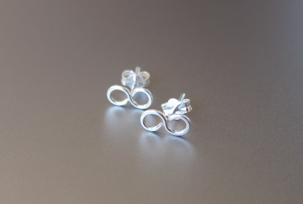 Infinity Stud Earrings-Sterling Silver-14K Gold Filled-Rose Gold Filled