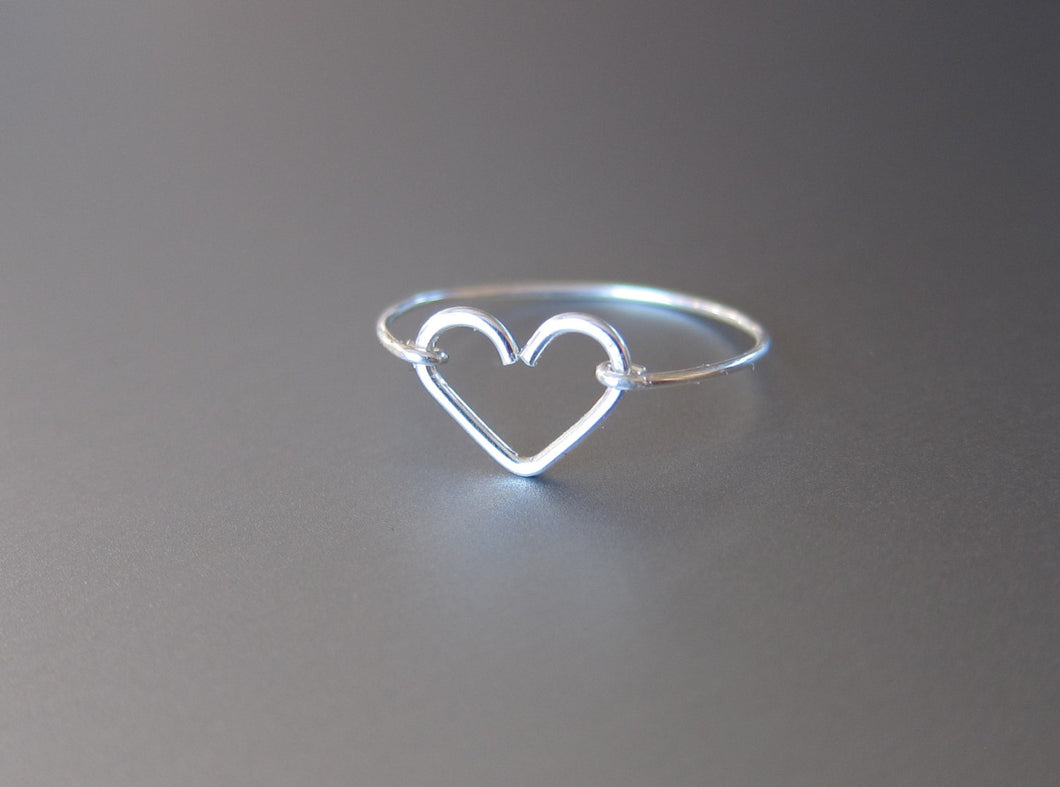 Wire Dainty Heart Ring-Sterling Silver