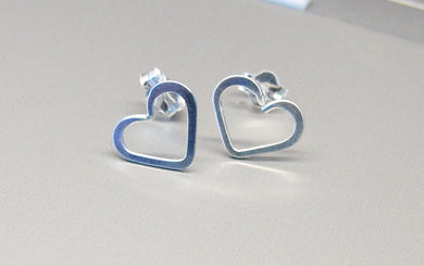 Dainty Heart Earrings-Sterling Silver