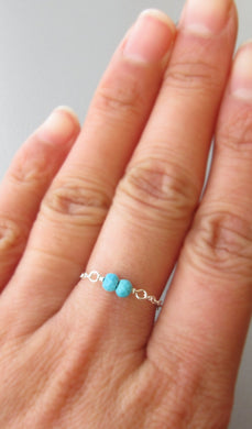 Birthstone Chain Ring-Choose Your Birthstone Ring-Sterling Silver