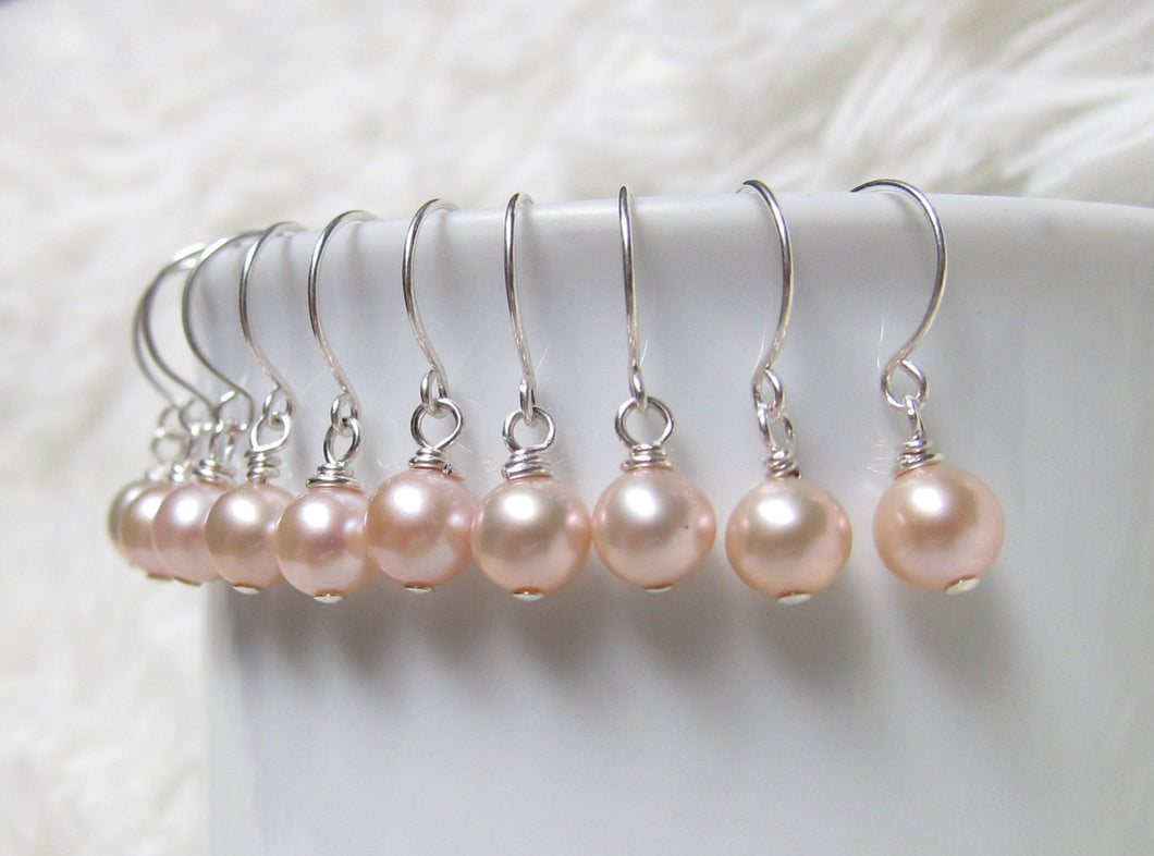Freshwater Lavender Pearl Earrings-Bridesmaid Gift Set of 5,6,7,8,9,10,11,12-Sterling Silver