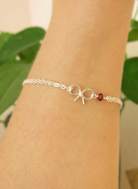 Birthstone Bow Bracelet-Bridesmaid Gift Set of 5,6,7,8,9,10,11,12-Sterling Silver