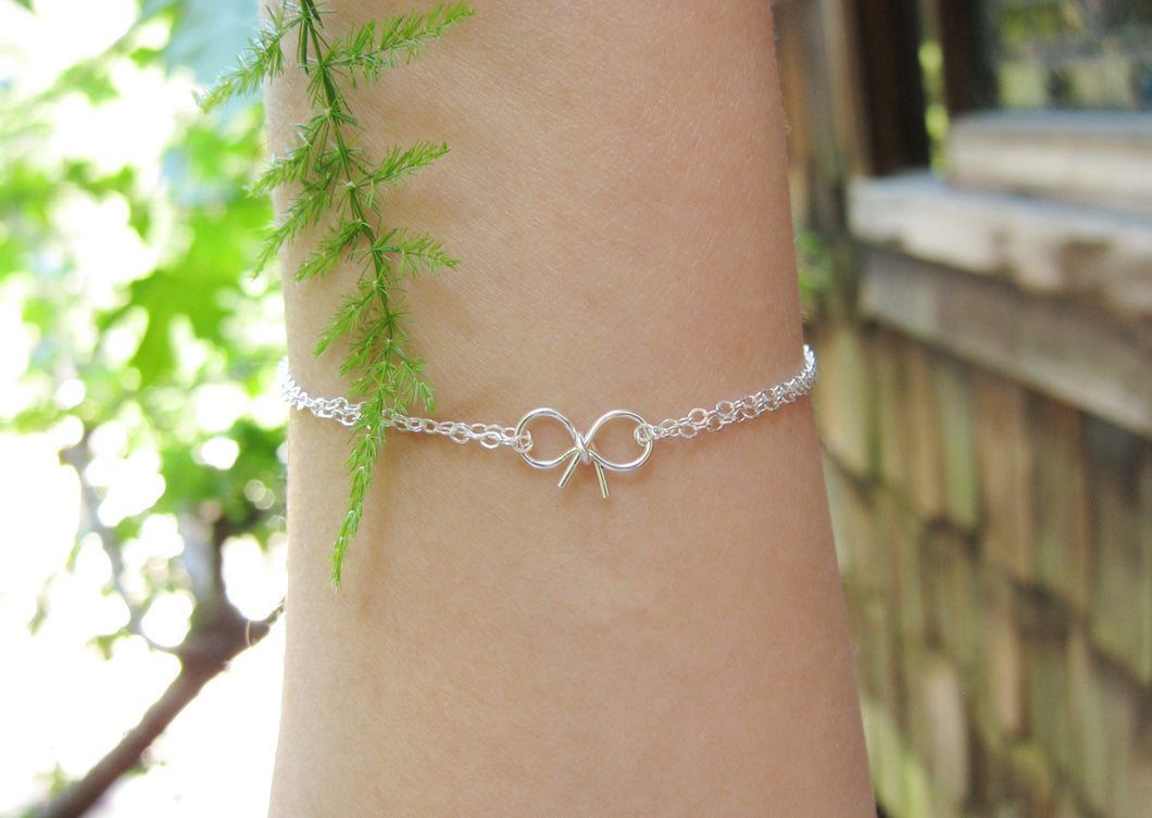 Bow Bracelets-Bridesmaid Gift Set of 5,6,7,8,9,10,11,12-Sterling Silver