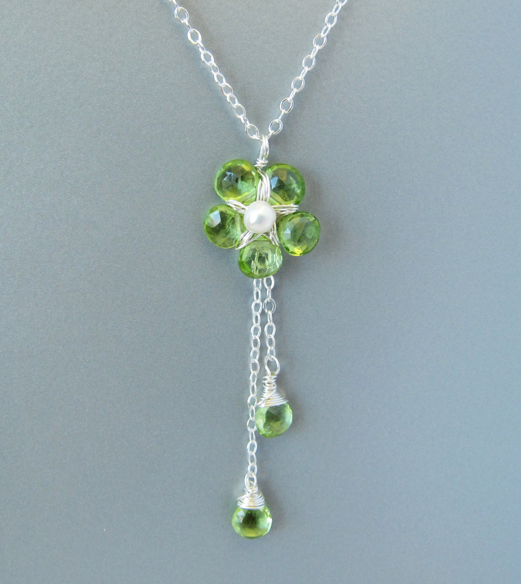 Wire Wrapped Peridot Gemstone Flower Necklace-Sterling Silver
