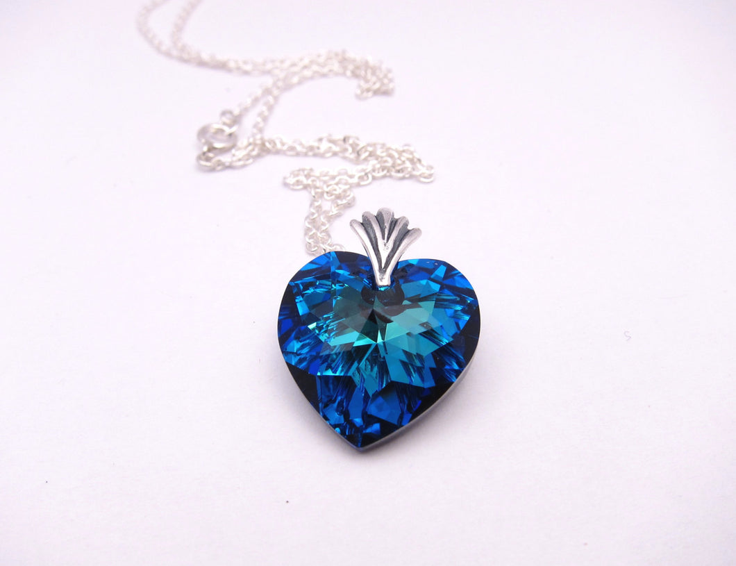 Bermuda Blue Swarovski Crystal Heart Necklace-Sterling Silver