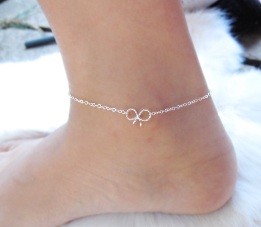Bow Anklets-Bridesmaid Gift Set of 5,6,7,8,9,10,11,12-Sterling Silver