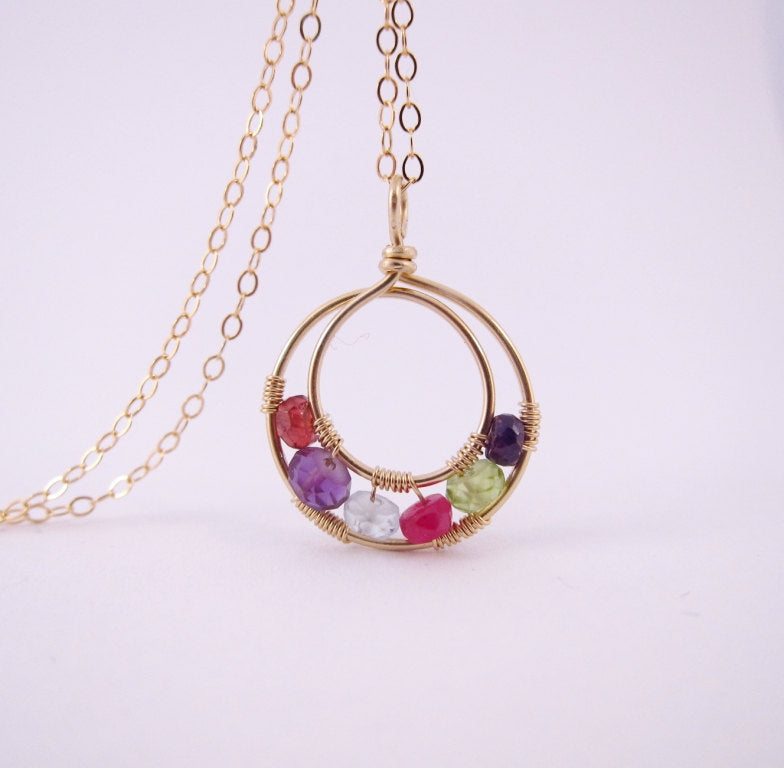 Mothers Necklace Birthstones-14K Gold Filled