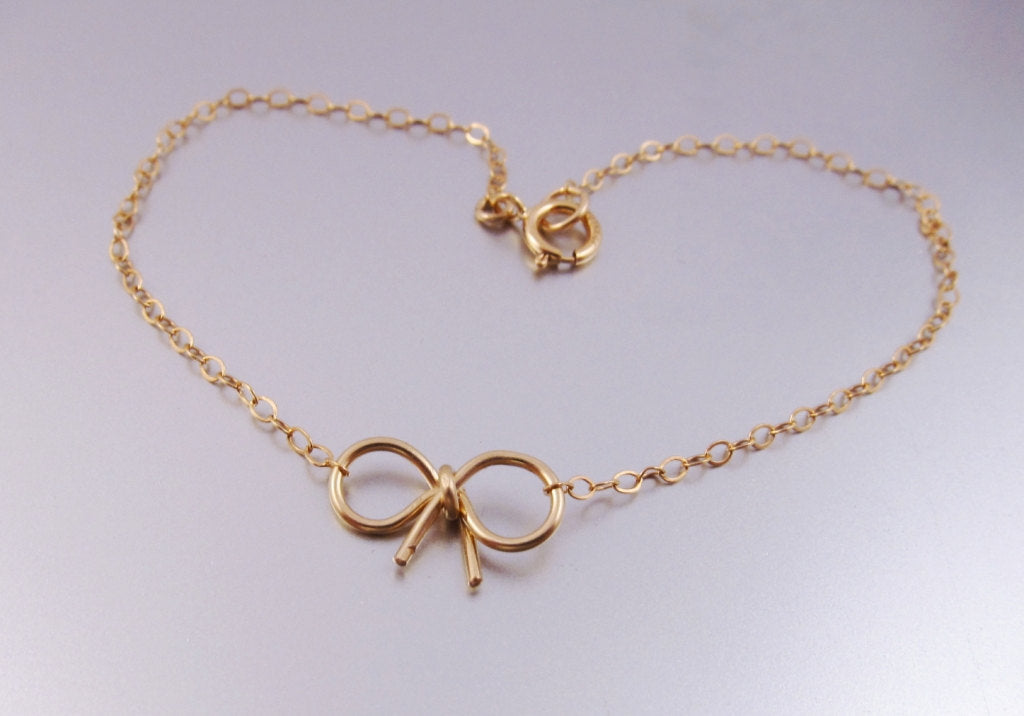 Simple Bow Bracelet-14K Gold-Rose Gold Filled
