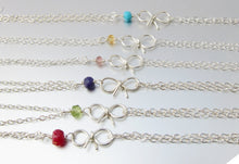 Personalized Birthstone Bow Bracelet-Sterling Silver