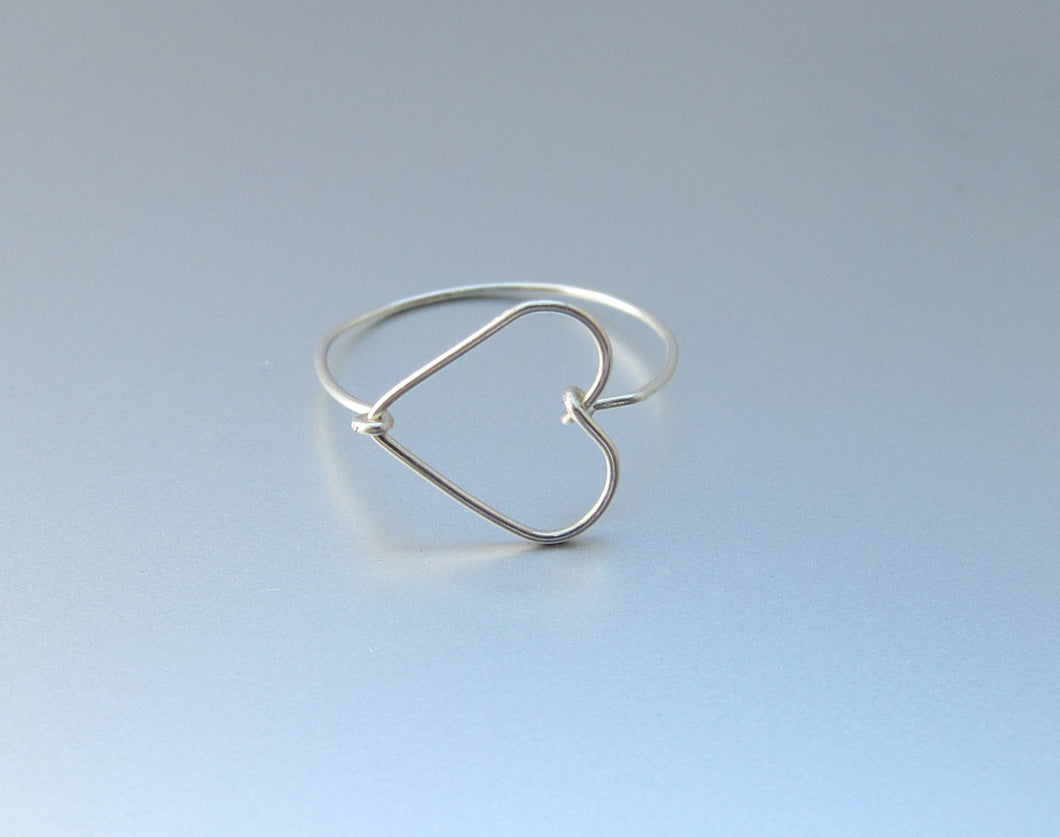 Dainty Wire Heart Ring-Sterling Silver-14K Gold-Rose Gold Filled